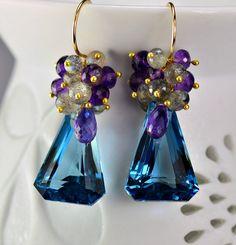 Sale Storewide-London Blue Topaz Gemstone Cluster Earrings Labradorite Amethyst 14k Gold Filled Wire Wrapped Earrings on Etsy, $155.00