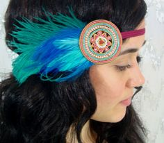 Turquoise Tribal Feather Beaded Bohemian Headband