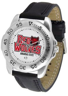 Arkansas State Red Wolves ASU NCAA Mens Leather Sports Watch by SunTime. $42.73. This handsome eye-catching Mens Sport Watch with Leather Band comes with a genuine leather strap. A date calendar function plus a rotating bezel/timer circles the scratch-resistant crystal. Sport the bold colorful high quality logo with pride.This watch comes with a 3 year limited manufacturers warranty on the mechanism of the watch and the warranty states Do not submerge your watch in water ...