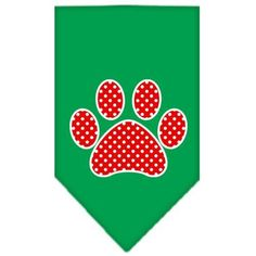 Red Swiss Dot Paw Screen Print Bandana Emerald Green Large