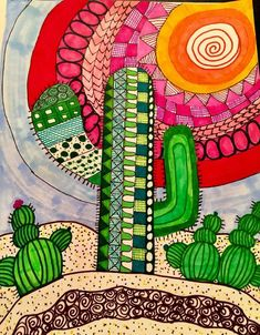 My desert scene # Desert scene The market in cactus house plants is booming and with very good reason. These prickly little guys are great fun, easy to keep and very attractive. Art Pop, Arte Elemental, Cactus Art, Cactus Plants, Cactus Decor, Cactus Painting, Cactus Doodle, Cactus Drawing, Mini Cactus