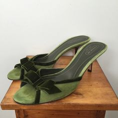 """COACH   Green Velvet & Suede Slingbacks These are as cute as they look! Velvet and suede. Only worn a twice. Heel caps look brand new. Heel height is 2 1/2"""". Coach Shoes Heels"""