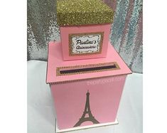 Two-Tier Card Box Glitter and Bling for Sweet 16 or Mitzvah Paris or any theme Paris Sweet 16, Eiffel Tower Painting, 13th Birthday Parties, Princess Tiara, Sweet 16 Parties, Paris Theme, Money Box, Silver Rhinestone, Custom Cards