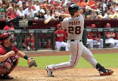 Game 3/162, 4/8/2012; Buster Posey swings wide and gets a home run in the 3rd inning against the Diamondbacks.