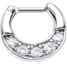 Body Candy Womens Anodized Steel Clear Accent Loop Septum Clicker 16 Gauge 1//4