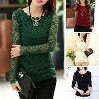 Wish | Women Sheer Solid Lace Shirt Floral Long Sleeve Slim Tops T-Shirt Blouse