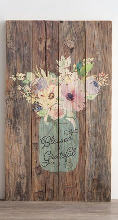 Blessed & Grateful - Plank Wall Art, Wood sign, Floral decor, Gift for her, Living room decor, Farmhouse style sign, Farmhouse decor, Rustic decor, Home decor #ad