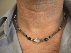 Blue Goldstone, Grey Jade, Black Onyx, Diamond Silver Celtic Knot Engraved Accents Men's Necklace, Men's Jewelry