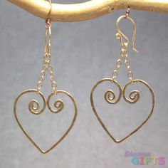 """Hammered hearts on chain, 2"""" Earring Gold Or Silver"""