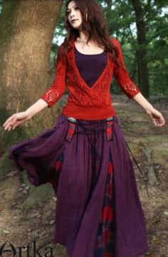 A Romantic and Unruly Purple Dress with Large Hemline *A06513 | Artka-Fashion - Clothing on ArtFire