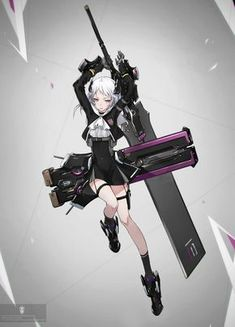 Anime girl with giant future saber Female Character Design, Character Design Inspiration, Character Concept, Character Art, Character Reference, Drawing Reference, Manga Characters, Fantasy Characters, Female Characters
