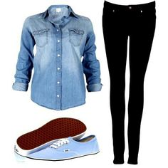 Cute outfit with sky blue vans. Easy and great for school!