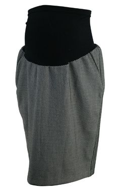 Black A Pea in the Pod Maternity Checkered Career Maternity Skirt (Gently Used - Size Large) - Motherhood Closet - Maternity Consignment