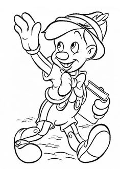 Pinocchio coloring pages for kids, printable free