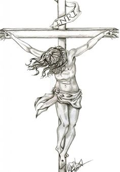 how to draw jesus on the cross step by step in black - - Image Search Results Jesus Christ Drawing, Jesus Drawings, Jesus Art, Jesus On Cross Tattoo, Jesus On The Cross, Christian Drawings, Christian Art, Christus Tattoo, Jesus Sketch