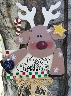 Merry Christmas Reindeer Yard Stick  Rudolph Yard by Cherables, $33.75