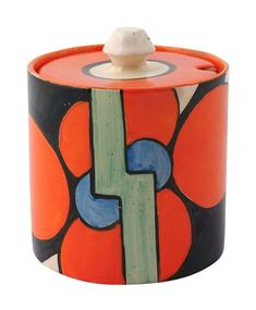 Clarice Cliff 'Red Flower' pattern cylinder preserves pot with cover, ca 1930.