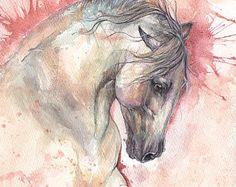 grey andalusian horse, equine art, horse portrait, equestrian, original pen and watercolor painting