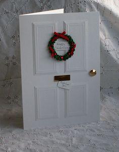 Christmas Door Tutorial - white on white card - bjl Christmas Card Crafts, Homemade Christmas Cards, Handmade Christmas Gifts, Christmas Cards To Make, Christmas Door, Christmas Greeting Cards, Christmas Greetings, Homemade Cards, Holiday Cards