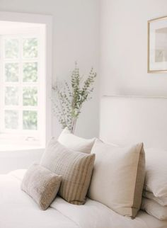 A Nature-Inspired Modern + Vintage Cozy Abode — The Inspired Abode Neutral Bedroom & Vintage Pillows Home Decor Inspiration, Home, Home Bedroom, Bedroom Interior, Home Remodeling, Cheap Home Decor, House Interior, Neutral Bedrooms, Bedroom Vintage