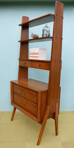 Vintage Pair of Mid Century Modern Bookcases, Room Divider, Shelving, Wall Unit