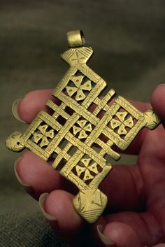 Ethiopian Brass Coptic Cross Pendant christian by Shimbra on Etsy