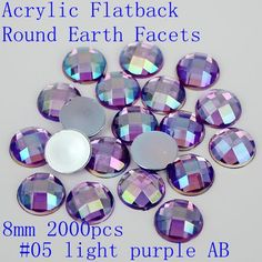 Good sale Acrylic flatback round earth facets 8mm 2000pcs AB colors acrylic beads nail art rhinestone glue on beads decorate