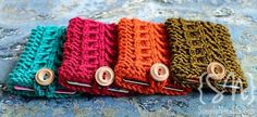 Gift Card Holders. Category 4 Worsted Weight; Size 6 Straight Needles; Button; Crochet Hook; Darning Needle