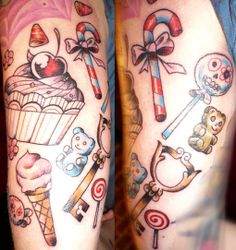 Jurg Poulycrock Tattoo, Bruxelles, Girly arm with candy, gummy bears, ice cream, cupcake and key.