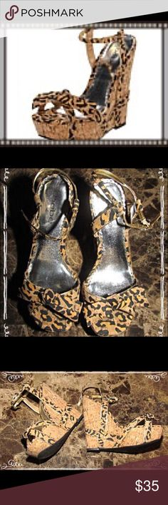 Bebe Women Leopard Cork Wedge Shoes 7 1/2 Great for jeans, summer days, and going to the Club.  Sassy Bebe platform wedges in 7 1/2M. Rarely worn. bebe Shoes Sandals