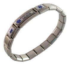 Myasthenia Gravis Medical ID Alert Italian Charm Bracelet Awareness ** Visit the image link more details.