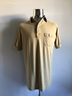 Vintage Men's 80's Polo Shirt, Tan, Short Sleeve by Arrow (L) by Freshandswanky on Etsy