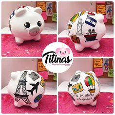 Imagen relacionada Pigs, Piggy Bank, Dyi, Biscuit, Decoupage, Diy And Crafts, Craft Projects, Scrap, Christmas