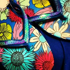Mothers Day Gift Idea! Pink or Blue Flower Sequin Flip Flops by fancyflop on Etsy