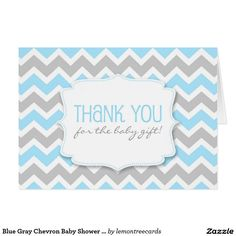 Blue Gray Chevron Baby Shower thank you notes