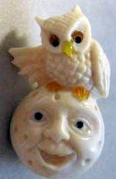 Carved Ivory. Owl on the Moon Button by Brad Elfrink from Elvenkrafte Studios