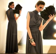 Open Back Turtle Neck Sleeveless Black Maxi Dress For Women (BLACK) China Wholesale - Sammydress.com