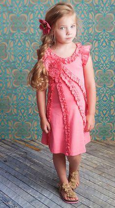 Lemon Loves Lime Little Girls Dress Pink Lemonade Ruffles $47.00