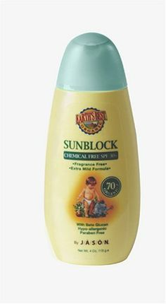 Jason Earth's Best Baby Care  Sun Block, SPF 30+, 4-Ounce Bottles (Pack of 2) by Jason Natural Cosmetics. Save 8 Off!. $29.34. Hypo-allergenic. With Beta Glucan and Oat Oil. With Beta Glucan and Oat Oil to nourish and soothe baby's delicate skin. Fragrance and Paraben Free. Earth's Best by JASON's Chemical-Free SPF 30+ Sunblock protects baby's delicate skin from the sun with this SPF 30+ Chemical Free, Fragrance Free Sunblock. This hypo-allergenic sunblock is extra mild and safe f...