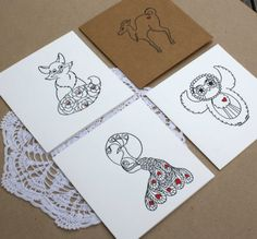 Pack of Four Blank Hand Printed Cards by CocoPress on Etsy, $20.00
