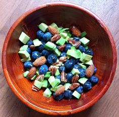 avocado and added blueberries, almonds, pecans, and honey