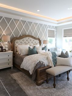 Modern French Country Bedroom #frenchdecorating