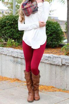 Lovely Burgundy leggings, blouse and scarf for fall
