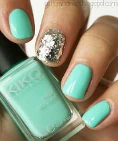 Mermaid Nails : Kiko 389   Milani Silver