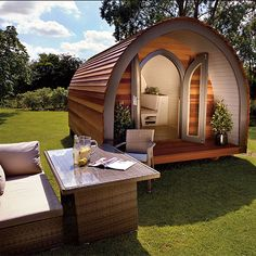 pods: discover the all-new outdoor home office The garden pod is here in all its curvaceous glory. Forget your ship lap she-shed.The garden pod is here in all its curvaceous glory. Forget your ship lap she-shed. Shed To Tiny House, Best Tiny House, Tiny House Cabin, Shed Design, Tiny House Design, Log Cabin Sheds, Garden Pods, Arched Cabin, Shed Builders