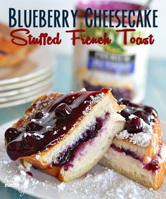 Blueberry Cheesecake Stuffed French Toast.  This french toast is stuffed with an easy blueberry cheesecake filling and topped with additional blueberry pie filling.  Its perfect for a special occasion!