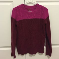 Color blocked Sweater Merino sweater- pink and maroon. Size small, worn twice. Merona Sweaters Crew & Scoop Necks