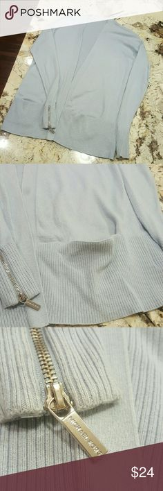 Michael Kors Long Sleeve Cardigan Sweater Pockets Knit MK cardigan sweater. Great condition, no rips, stains, tears, smoke free home. Has MK zippers at each sleeve and built in pockets. Pale baby blue. Michael Kors Sweaters Cardigans