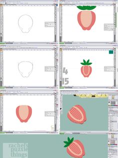 Food illustration, strawberry, graphic design, drawing from Rachel´s Puzzle Things.