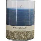 FRESH LINEN SCENTED by Fresh Linen Scented ONE 4.5 inch GLASS PILLAR SCENTED CANDLE WITH LID.  BURNS APPROX. 70 HRS.